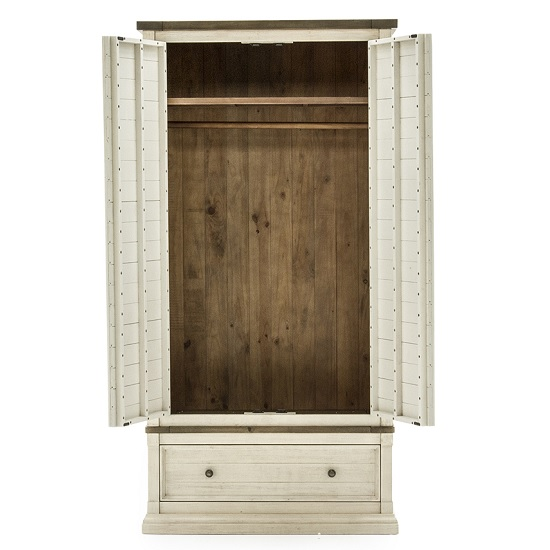 Emery Wooden Wardrobe In Antique White With 2 Doors_2