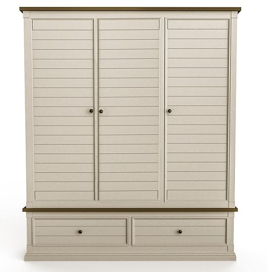 Emery Wooden Wardrobe Wide In Antique White With 3 Doors