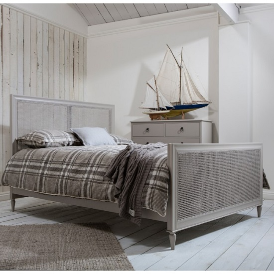 Read more about Emery king size bed in soft grey with hand woven cane