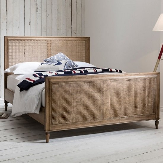 Read more about Emery king size bed in weathered with hand woven cane