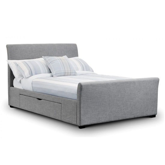 Emily Fabric King Size Bed In Light Grey linen With 2 Drawers