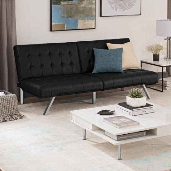 Emily Faux Leather Convertible Sofa Bed In Black