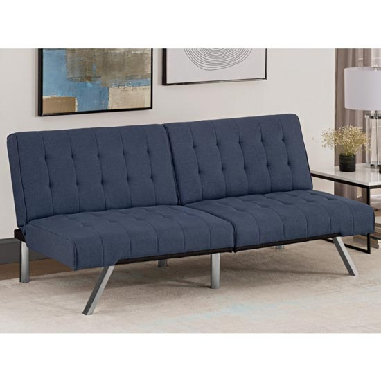 Emily Faux Leather Convertible Sofa Bed In Navy Linen Blue_2