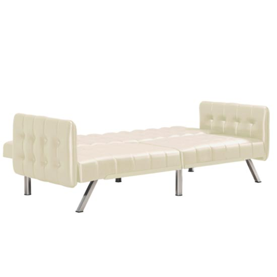 Emily Leather Convertible Clic Clac Sofa bed In Vanilla