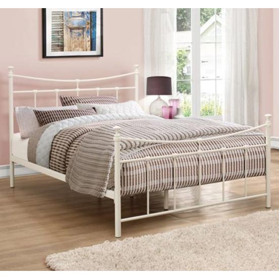 Emily Steel Small Double Bed In Cream