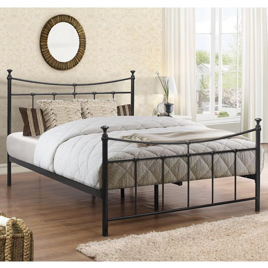 Emily Steel Small Double Bed In Black