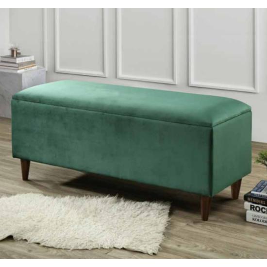 View Emstone velvet upholstered storage ottoman in green