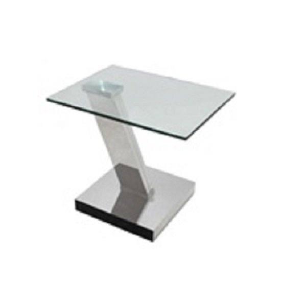 Emmett Glass Coffee Table Rectangular In Clear With Silver