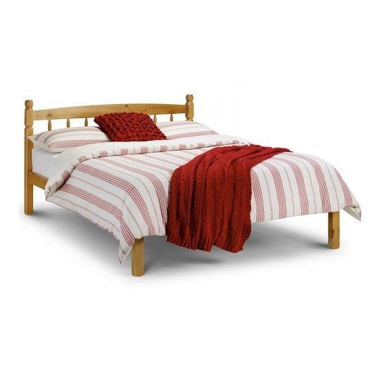 Emmi Wooden Double Size Bed In Oak Sheen Lacquer Finish