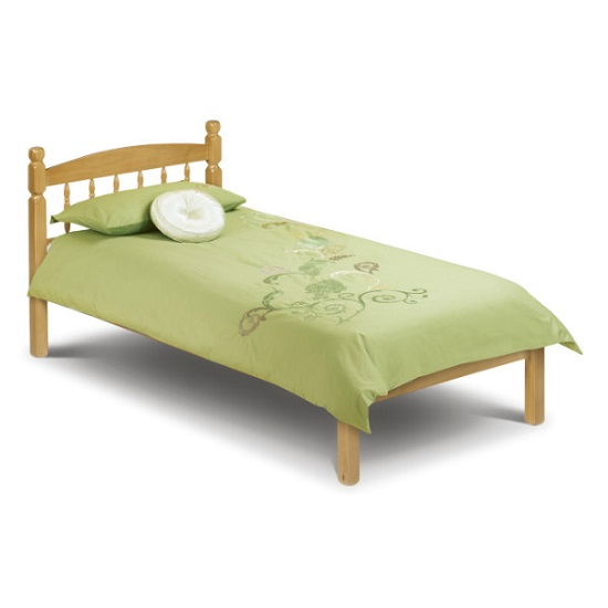 Emmi Wooden Single Size Bed In Oak Sheen Lacquer Finish