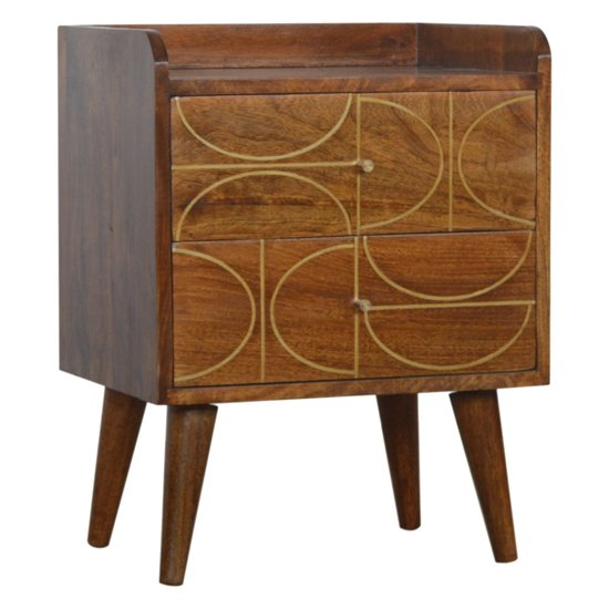 View Emmis wooden gold inlay abstract bedside cabinet in chestnut