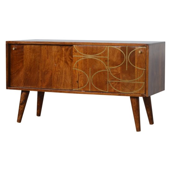 View Emmis wooden gold inlay abstract tv sideboard in chestnut