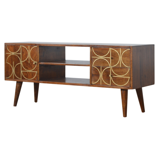 View Emmis wooden gold inlay abstract tv stand in chestnut