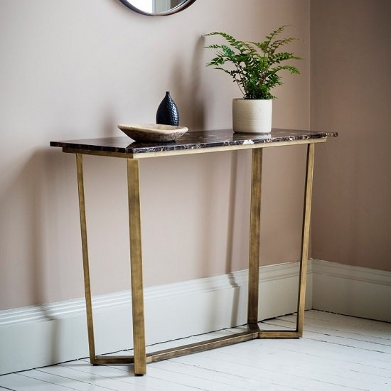 Emphora Marble Console Table With Metal Base