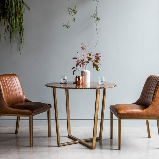 Emphora Marble Round Dining Table With Metal Base
