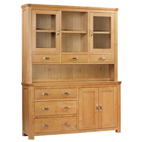 Empire Large Display Cabinet In Oak With 4 Doors And 6 Drawers_1