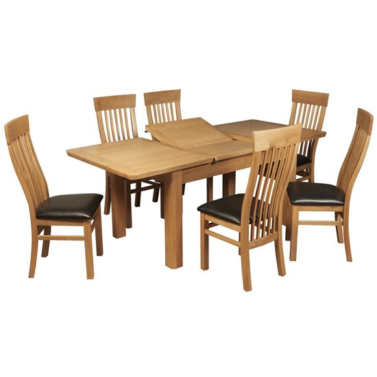 View Empire medium butterfly extending dining set with 6 chairs