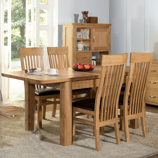 Empire Medium Extending Dining Set With 4 Chairs In Oak_1