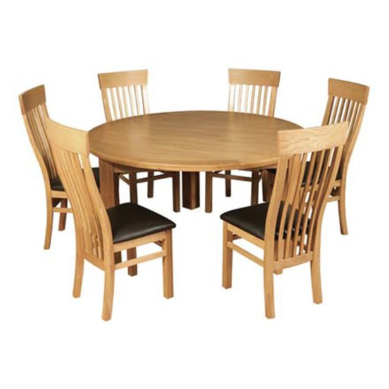 Empire Round Butterfly Extending Dining Set With 6 Chairs