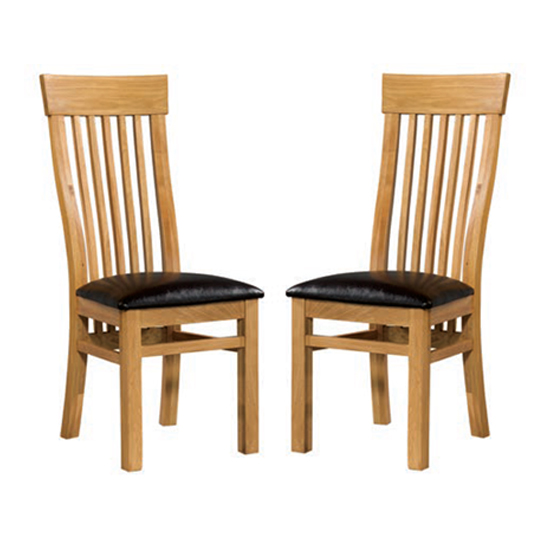 Empire Solid Oak Dining Chairs In Pair