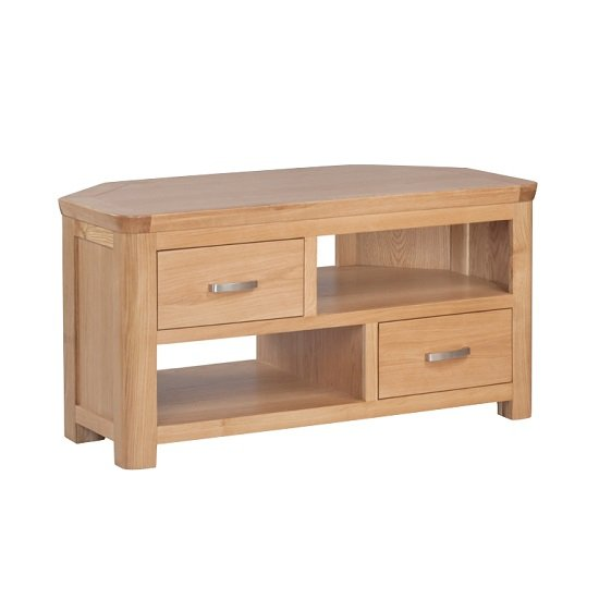 View Empire wooden corner tv stand with 2 drawers