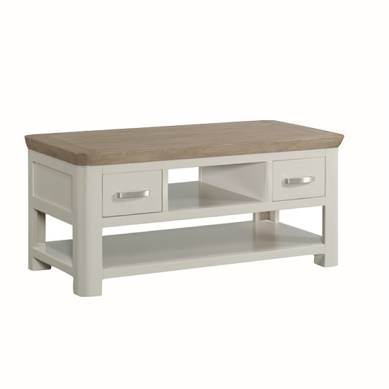 Empire Contemporary Coffee Table In Stone Painted