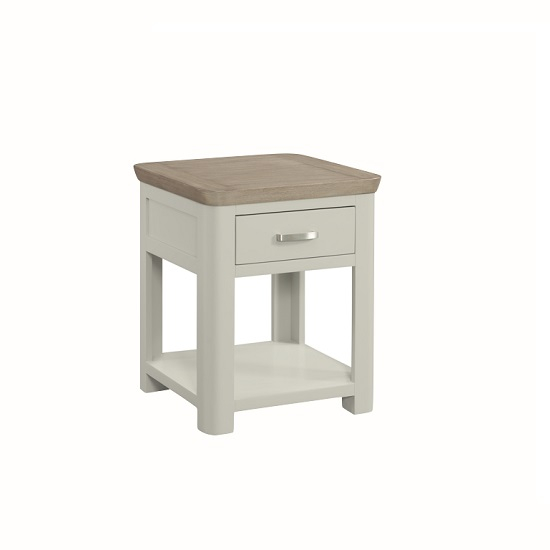Empire Wooden End Table In Stone Painted With 1 Drawer