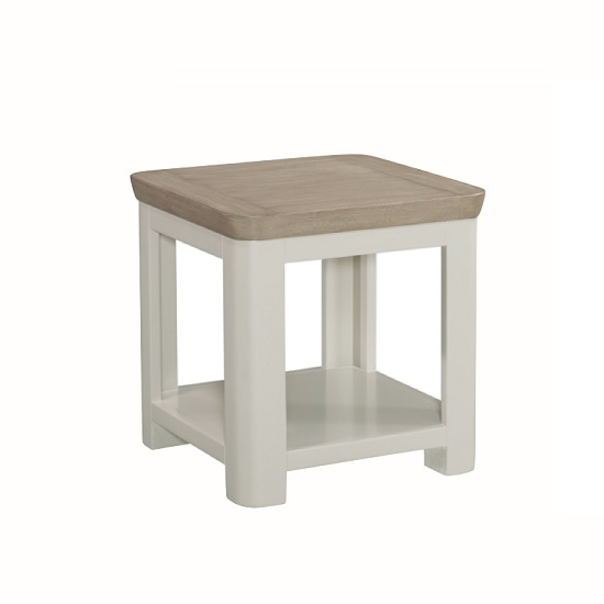 Empire Square Wooden Lamp Table In Stone Painted