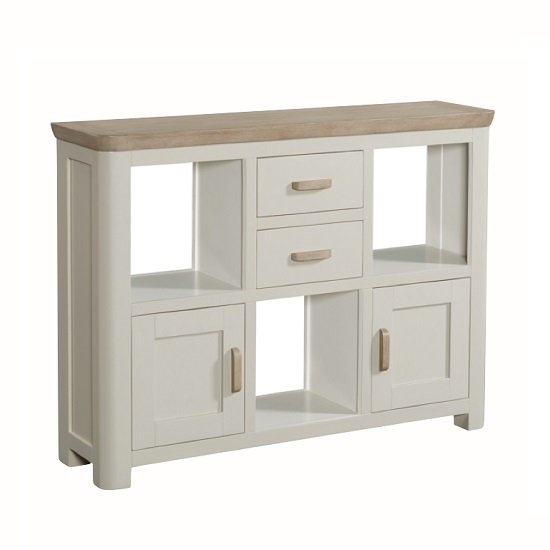 Empire Wooden Low Display Unit In Stone Painted_2