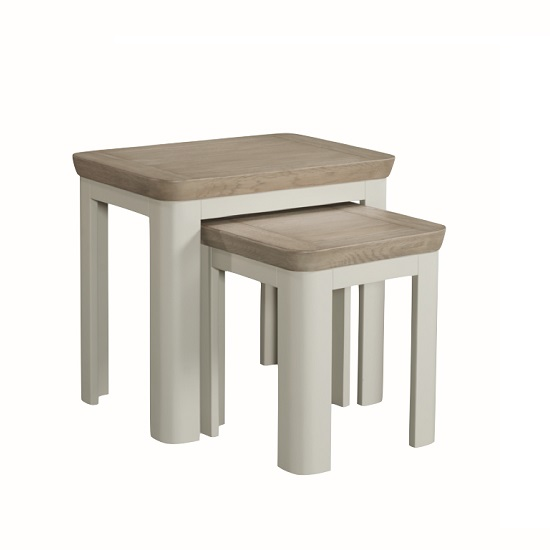 Empire Wooden Nest Of Tables In Stone Painted