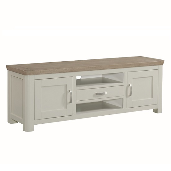 Empire Wide Wooden TV Stand In Stone Painted