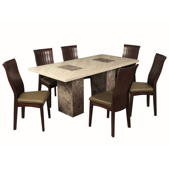 Encore Marble Dining Table Large In Dark Brown Cream And 6 Chair