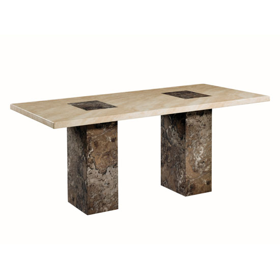 Encore Marble Rectangular Dining Table Large In Dark Brown Cream