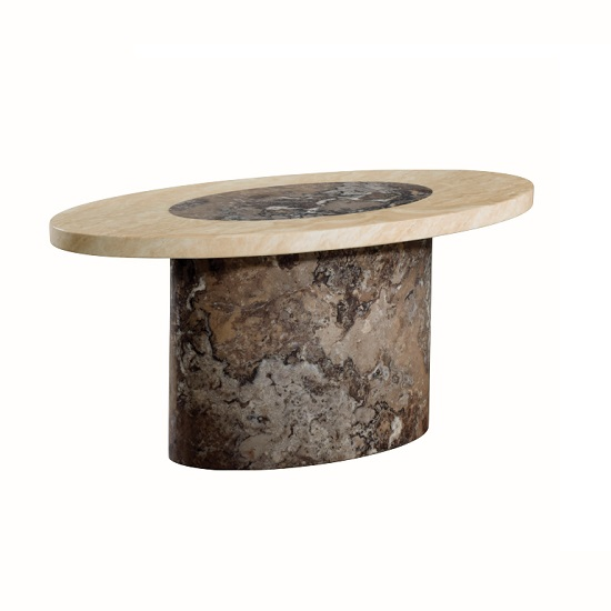 Extra Large Stone Coffee Table: Encore Marble Coffee Table Oval In Dark Brown And Cream