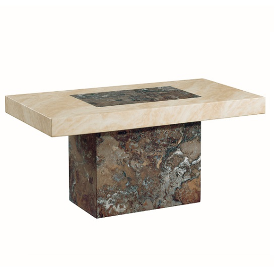 Marble Coffee Table Rectangular: Encore Marble Coffee Table Rectangular In Dark Brown And