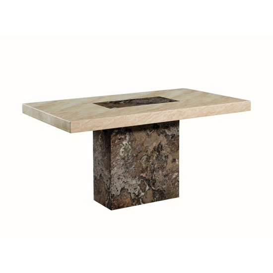 Encore Marble Dining Table Rectangular In Dark Brown And Cream