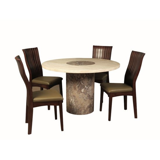 Encore Marble Dining Table Round In Dark Brown Cream And 4 Chair