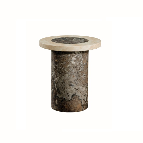 Encore Marble End Table Round In Dark Brown And Cream
