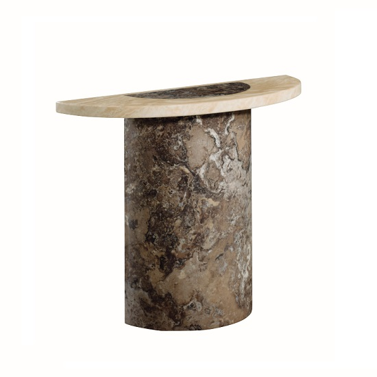 Encore Marble Console Table Semi Oval In Dark Brown And Cream