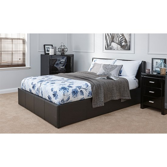 End Lift Ottoman Double Bed In Black
