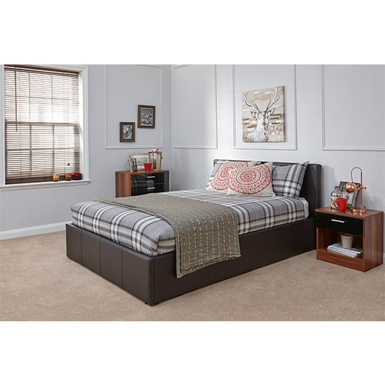 End Lift Ottoman Double Bed In Brown