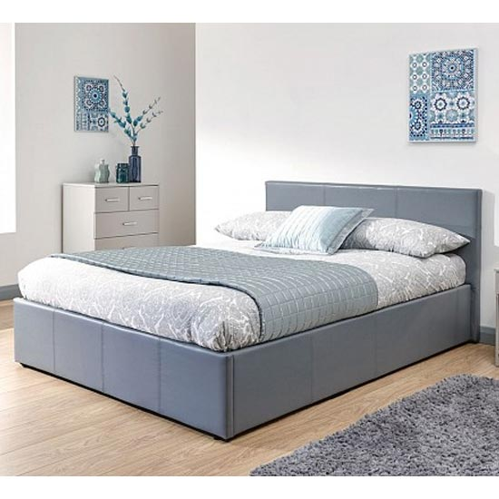 End Lift Ottoman Double Bed In Grey