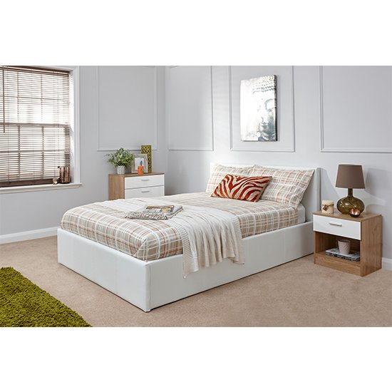 End Lift Ottoman Double Bed In White