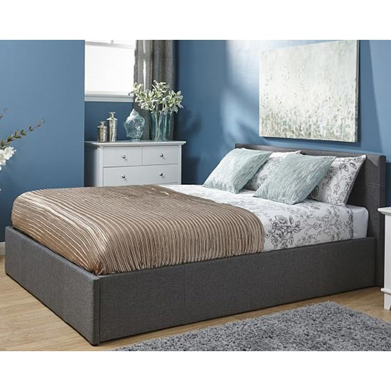 End Lift Ottoman Fabric King Size Bed In Grey