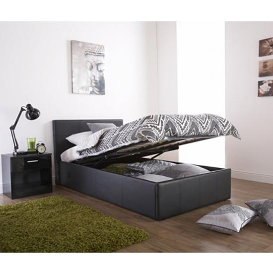 End Lift Ottoman Faux Leather Small Double Bed In Black_2
