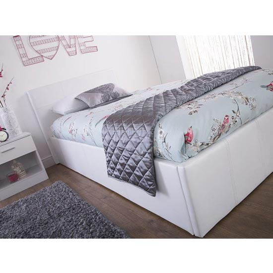 End Lift Ottoman Faux Leather Small Double Bed In White_3