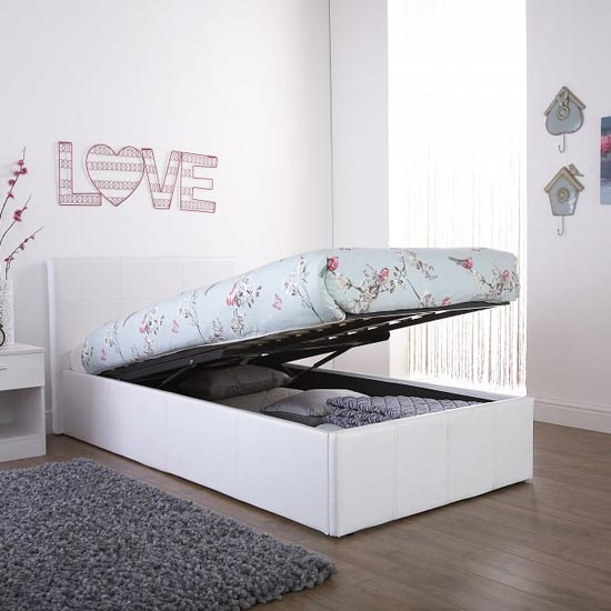 End Lift Ottoman Faux Leather Small Double Bed In White_1