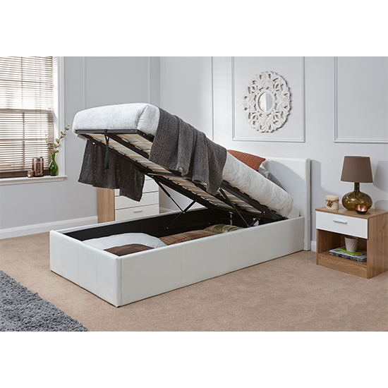 End Lift Ottoman Single Bed In White_2
