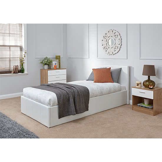 End Lift Ottoman Single Bed In White