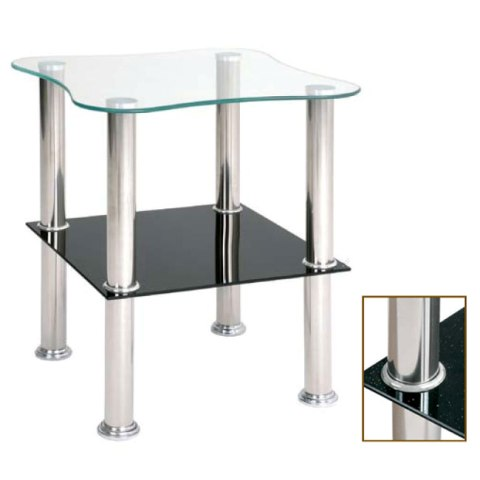 2 Tier Glass Side Table With Black Sparkle Undershelf